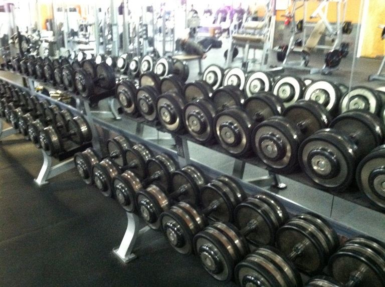 Plenty of dumbbells and the space to use them makes me happy.